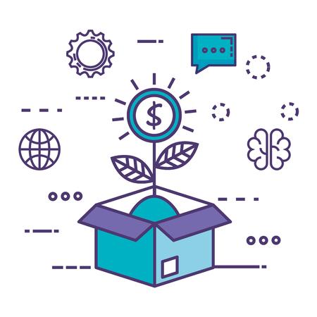 box carton with innovation icons vector illustration design Çizim