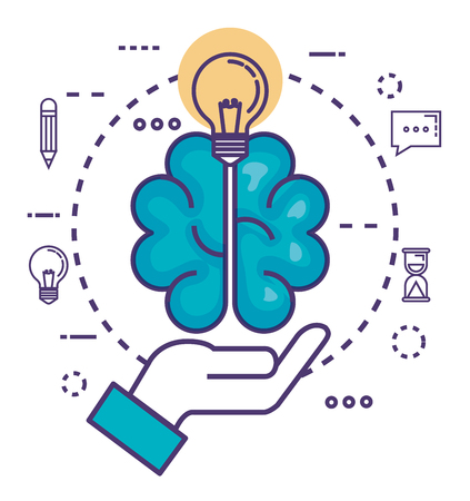 brain with innovation icons vector illustration design Çizim
