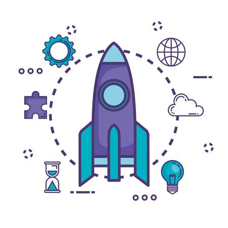 rocket launcher with innovation icons vector illustration design Çizim