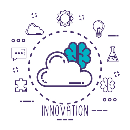 cloud and brain with innovation icons vector illustration design Çizim