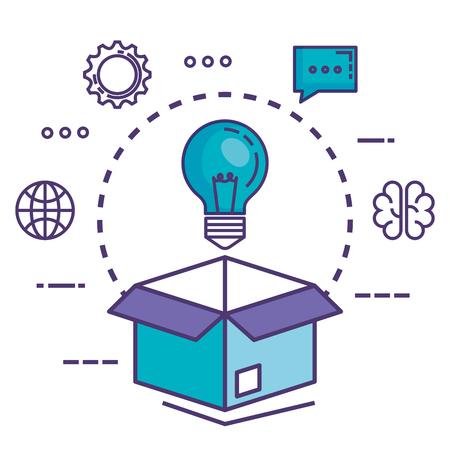 Caja de cartón con iconos de innovación, diseño de ilustraciones vectoriales