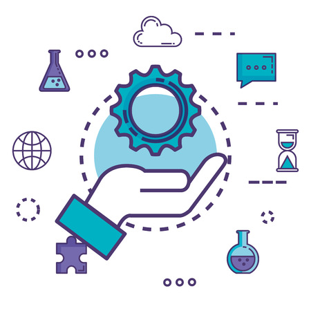 gear setting with innovation icons vector illustration design