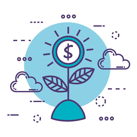 money plant with innovation icons vector illustration design