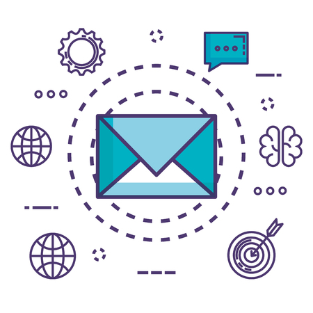 envelope with innovation icons vector illustration design