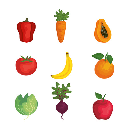 group of fruits and vegetables vector illustration design