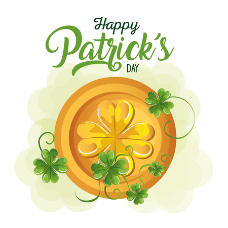 coins pile saint patrick celebration vector illustration design