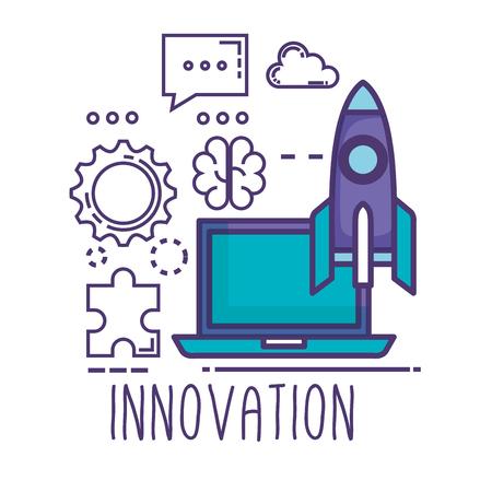 laptop with innovation icons vector illustration design Stok Fotoğraf - 116289429