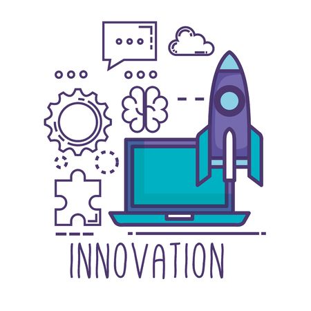 laptop with innovation icons vector illustration design