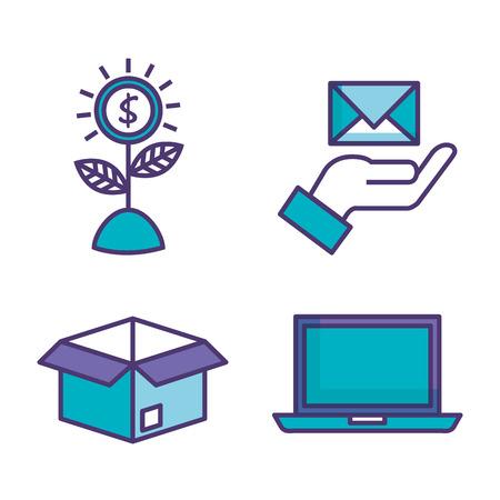 set of technological innovation icons vector illustration design Çizim