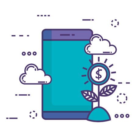 smartphone with innovation icons vector illustration design