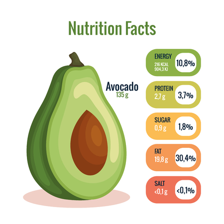 fresh avocado with nutrition facts vector illustration design