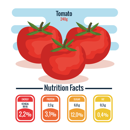 fresh tomatoes with nutrition facts vector illustration design Ilustração