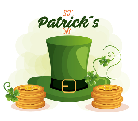 saint patrick card with hat leprechaun vector illustration design