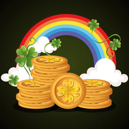 coins pile saint patrick celebration vector illustration design