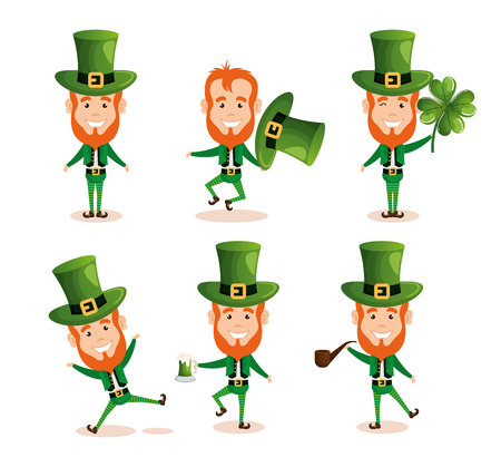 group of leprechauns saint patrick characters vector illustration design Illustration