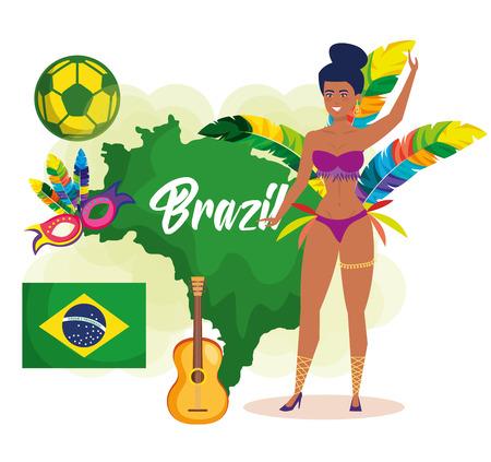 beautiful brazilian garota character vector illustration design Illustration