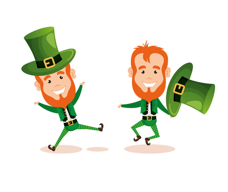 couple of leprechauns saint patrick characters vector illustration design