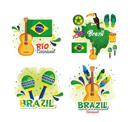 rio carnival brazilian card vector illustration design Ilustração