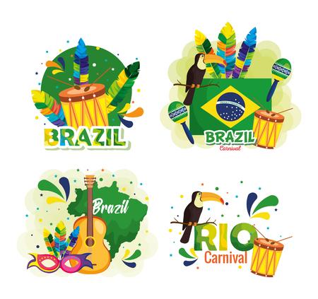 disegno dell'illustrazione di vettore della carta brasiliana di carnevale