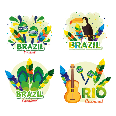 rio carnival brazilian card vector illustration design Çizim