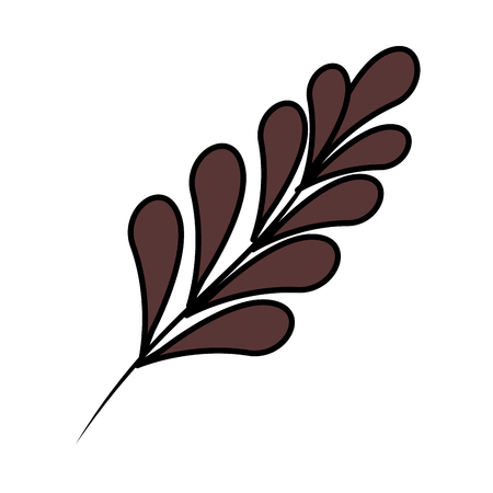 branch with leafs plant vector illustration design