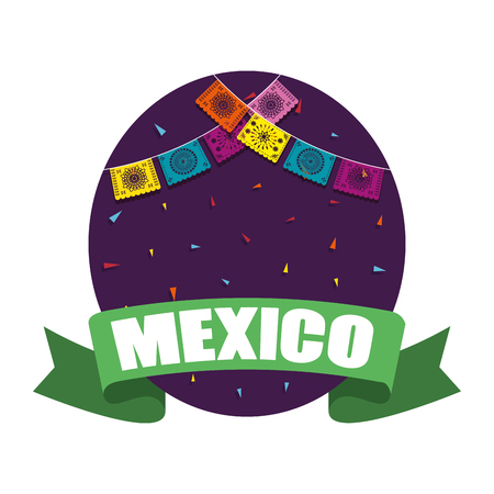 mexico label with party garlands vector illustration design Illustration
