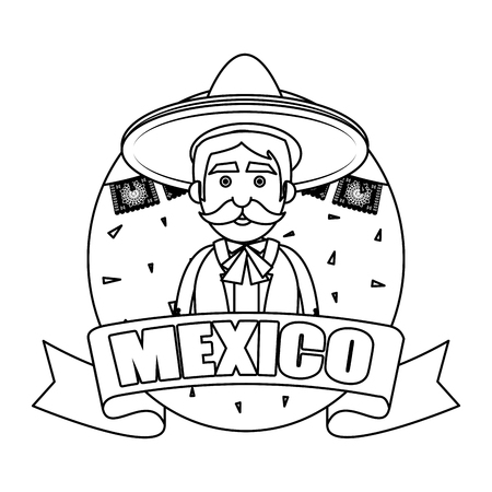 traditional mexican mariachi character vector illustration design