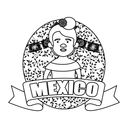 traditional mexican woman with hat vector illustration design 写真素材 - 125499064