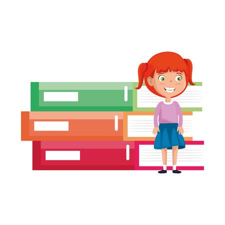 little student girl with pile books character vector illustration design Stock Illustratie