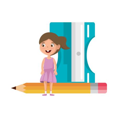 little student girl with sharpener and pencil vector illustration design Illustration