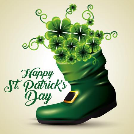 clovers inside boot to st patrick event vector illustration Foto de archivo - 116424783
