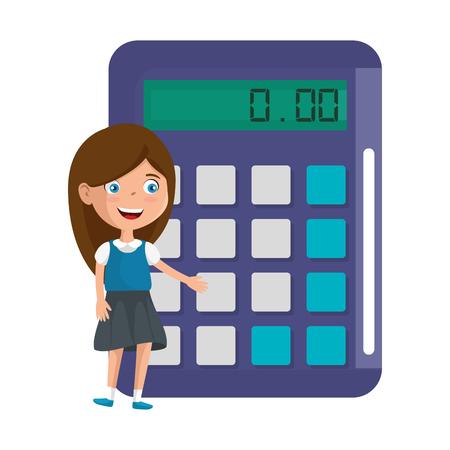 little student girl with calculator math vector illustration design 向量圖像
