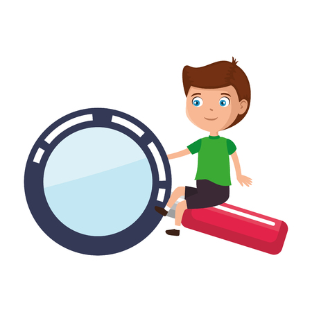 little boy student with magnifying glass vector illustration design 向量圖像