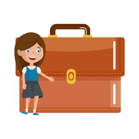 little student girl with portfolio vector illustration design
