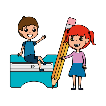 little students kids with sharpener and pencil vector illustration design Illustration