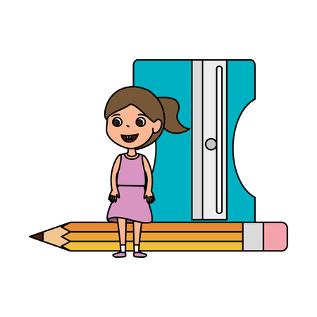 little student girl with sharpener and pencil vector illustration design Illusztráció