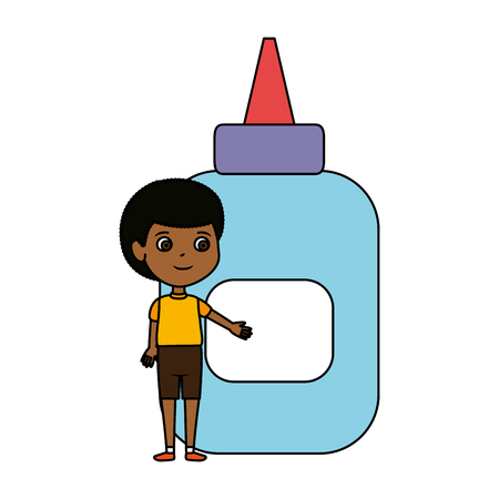 little boy student with glue bottle vector illustration design