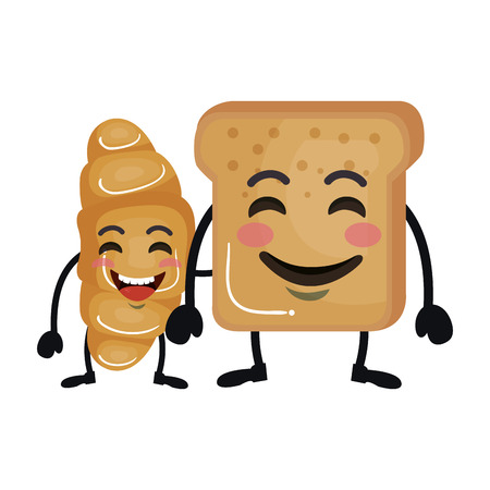 delicious breads kawaii characters vector illustration design Stockfoto - 125459276