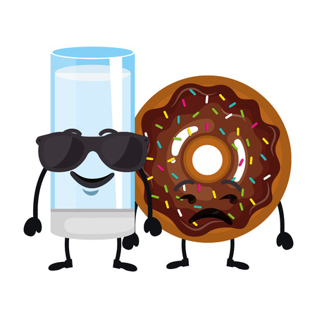delicious milk glass and donut kawaii characters vector illustration design
