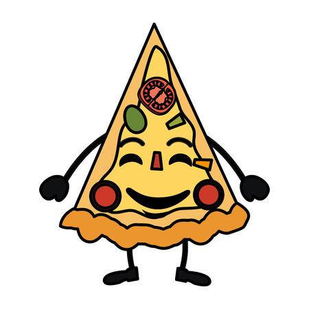 delicious pizza character vector illustration design Illustration