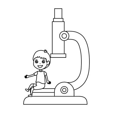 little boy student with microscope character vector illustration design
