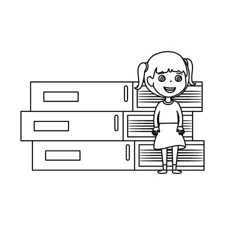 little student girl with pile books character vector illustration design 向量圖像
