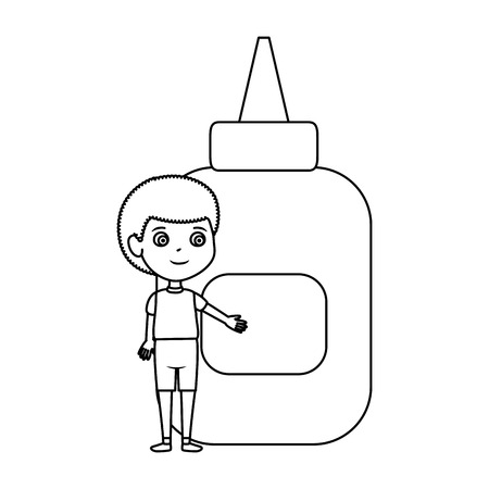 little boy student with glue bottle vector illustration design