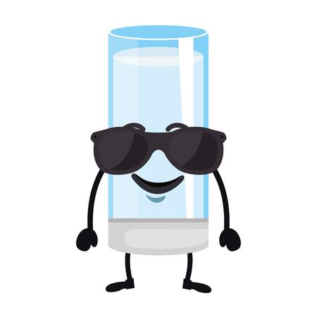 delicious milk glass cup kawaii character vector illustration design