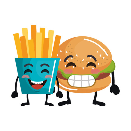delicious burger with french fries kawaii charactervector illustration design
