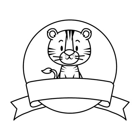 cute little tiger character vector illustration design Illustration
