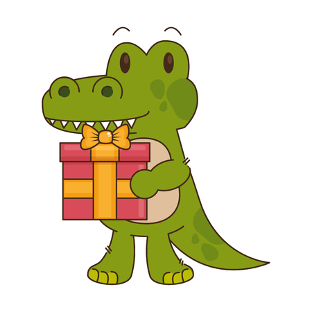 cute little crocodrile character vector illustration design