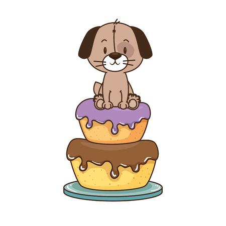cute little dog character vector illustration design
