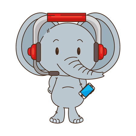 cute little elephant character vector illustration design