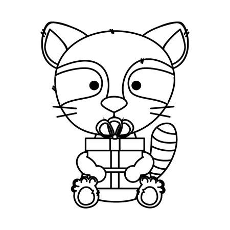 cute little raccoon character vector illustration design Illustration